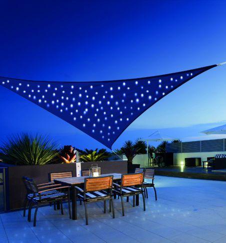voile d 39 ombrage ciel toile triangulaire solaire 100 led 360 cm toile 180 g m clairage fixe ou. Black Bedroom Furniture Sets. Home Design Ideas